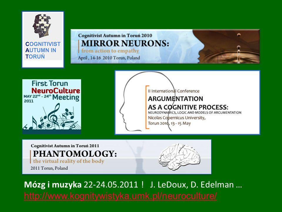 Mózg i muzyka 22-24.05.2011 ! J. LeDoux, D. Edelman … http://www.kognitywistyka.umk.pl/neuroculture/