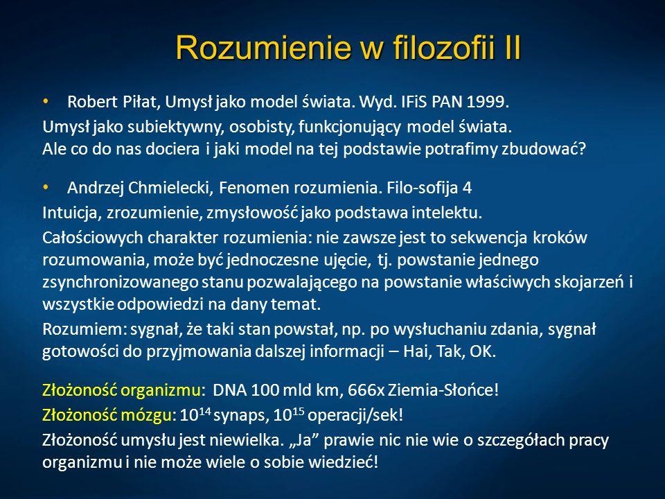 Rozumienie w filozofii II Robert Piłat, Umysł jako model świata. Wyd. IFiS PAN 1999. Umysł jako subiektywny, osobisty, funkcjonujący model świata. Ale
