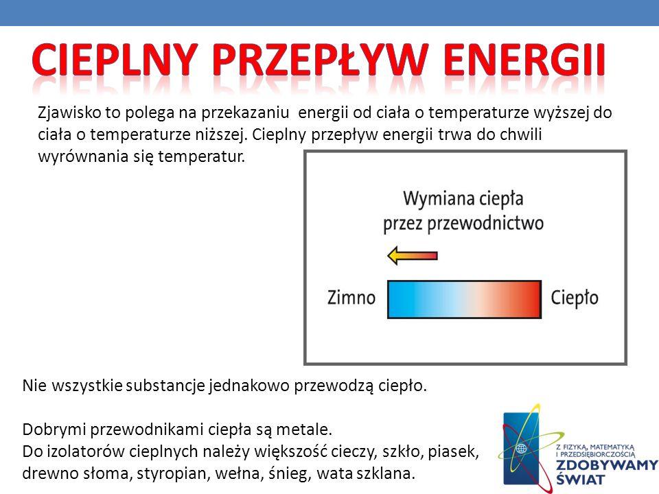 Zjawisko to polega na przekazaniu energii od ciała o temperaturze wyższej do ciała o temperaturze niższej. Cieplny przepływ energii trwa do chwili wyr