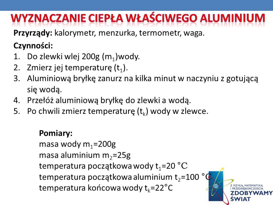 Przyrządy: kalorymetr, menzurka, termometr, waga. Pomiary: masa wody m 1 =200g masa aluminium m 2 =25g temperatura początkowa wody t 1 =20 °C temperat