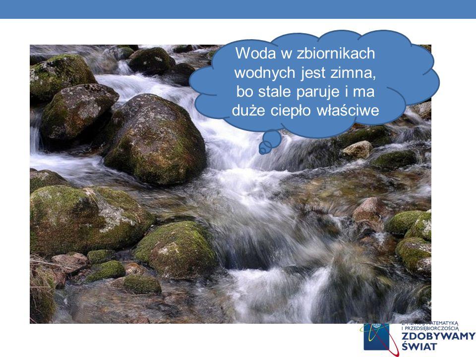 Woda w zbiornikach wodnych jest zimna, bo stale paruje i ma duże ciepło właściwe
