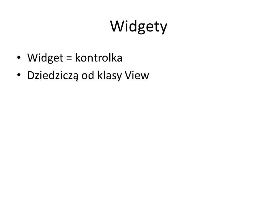 Widgety Widget = kontrolka Dziedziczą od klasy View