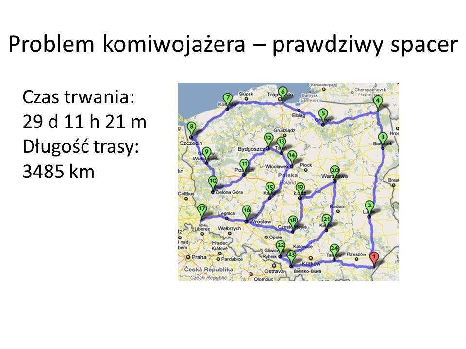 Problem komiwojażera – prawdziwy spacer Czas trwania: 29 d 11 h 21 m Długość trasy: 3485 km