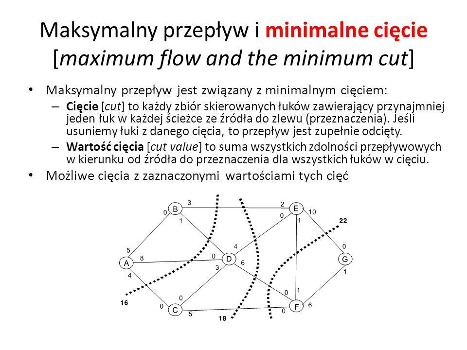 Maksymalny przepływ jest związany z minimalnym cięciem: – Cięcie [cut] to każdy zbiór skierowanych łuków zawierający przynajmniej jeden łuk w każdej ś
