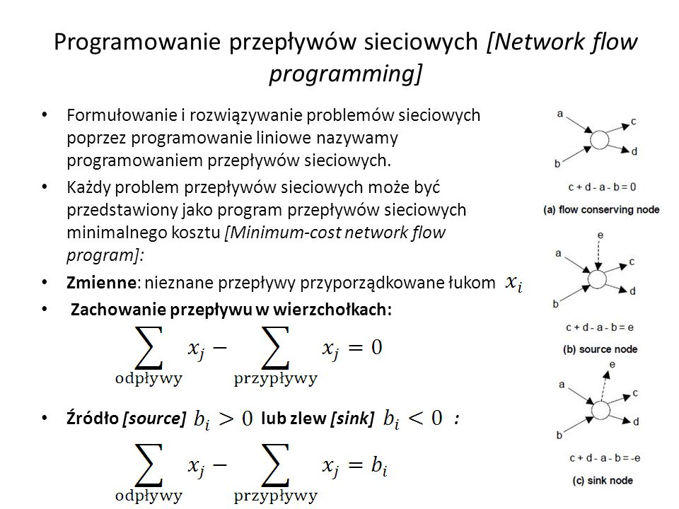 Programowanie przepływów sieciowych [Network flow programming] Formułowanie i rozwiązywanie problemów sieciowych poprzez programowanie liniowe nazywam