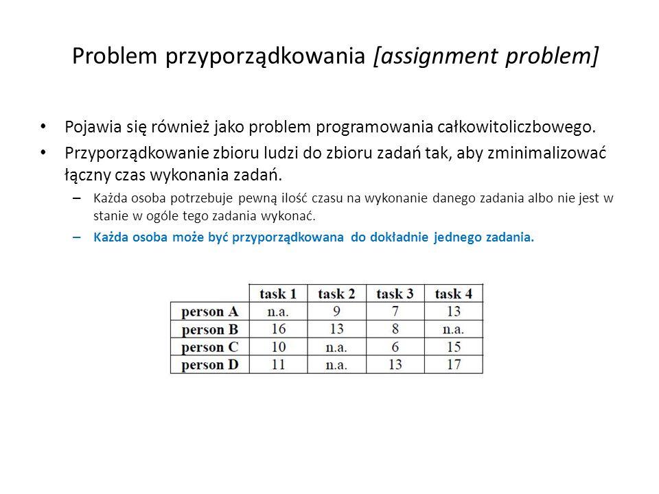 Problem przyporządkowania [assignment problem] Pojawia się również jako problem programowania całkowitoliczbowego. Przyporządkowanie zbioru ludzi do z