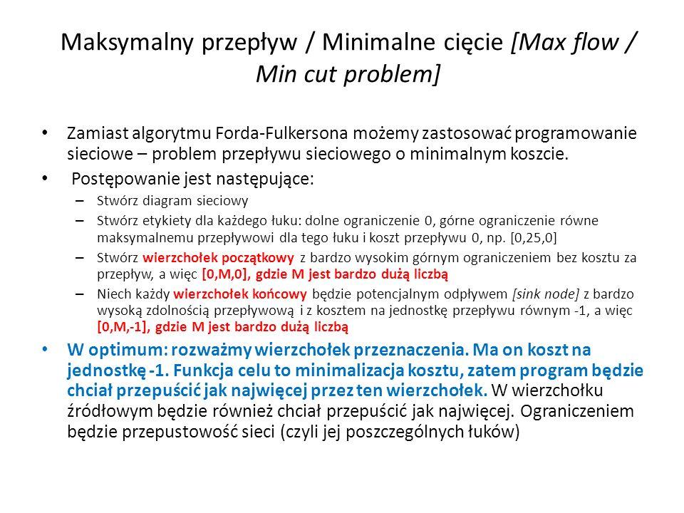 Maksymalny przepływ / Minimalne cięcie [Max flow / Min cut problem] Zamiast algorytmu Forda-Fulkersona możemy zastosować programowanie sieciowe – prob
