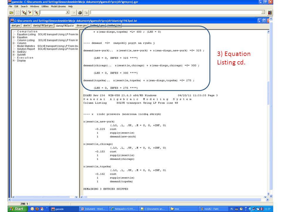 3) Equation Listing cd.