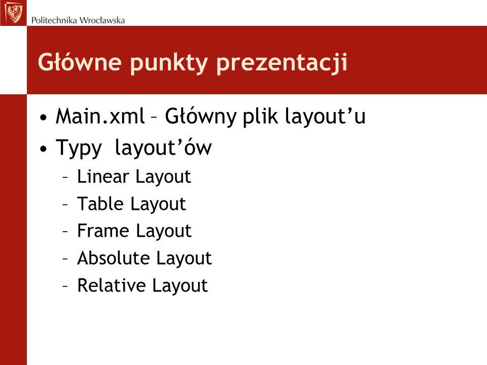 Główne punkty prezentacji Main.xml – Główny plik layoutu Typy layoutów –Linear Layout –Table Layout –Frame Layout –Absolute Layout –Relative Layout