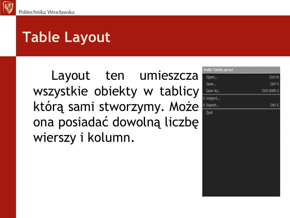 Table Layout Layout ten umieszcza wszystkie obiekty w tablicy którą sami stworzymy. Może ona posiadać dowolną liczbę wierszy i kolumn.