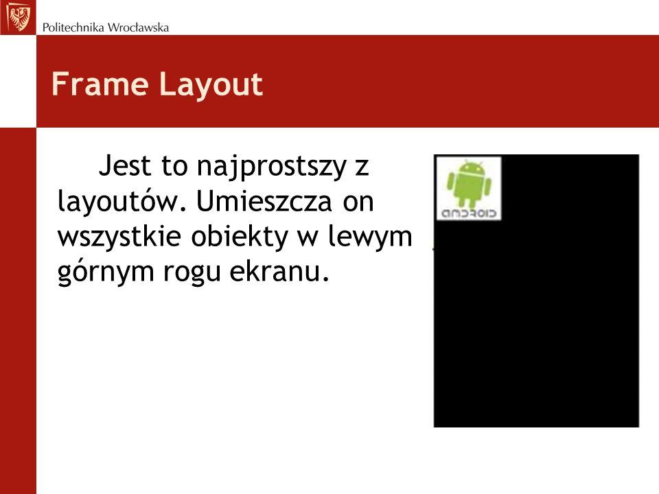 Frame Layout Jest to najprostszy z layoutów. Umieszcza on wszystkie obiekty w lewym górnym rogu ekranu.