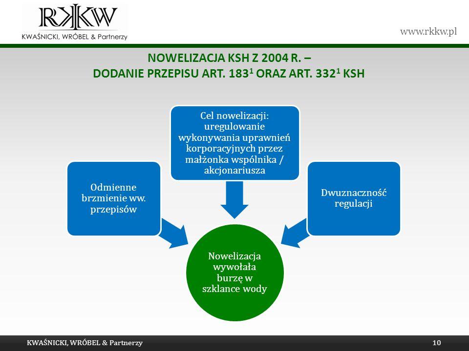 www.rkkw.pl NOWELIZACJA KSH Z 2004 R.– DODANIE PRZEPISU ART.