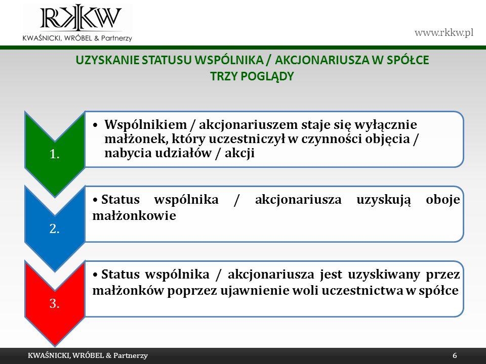 www.rkkw.pl UZYSKANIE STATUSU WSPÓLNIKA / AKCJONARIUSZA W SPÓŁCE TRZY POGLĄDY KWAŚNICKI, WRÓBEL & Partnerzy6 1.