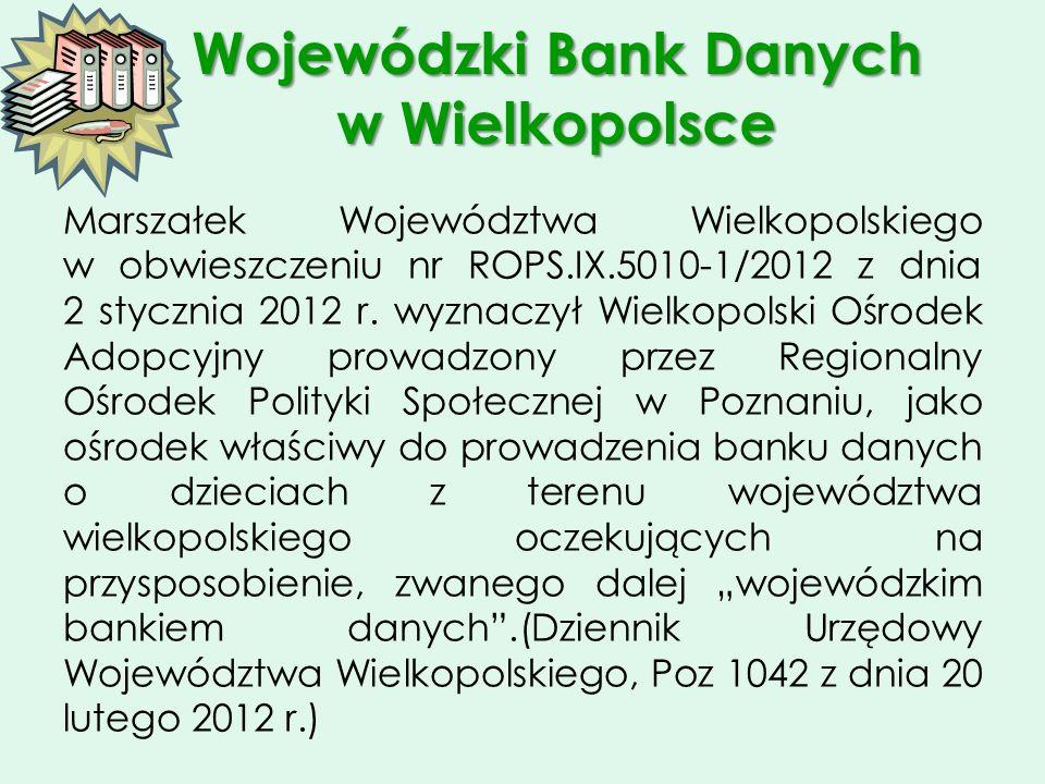 Wojewódzki Bank Danych w Wielkopolsce Marszałek Województwa Wielkopolskiego w obwieszczeniu nr ROPS.IX.5010-1/2012 z dnia 2 stycznia 2012 r. wyznaczył