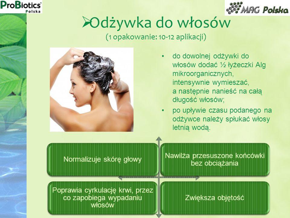 do dowolnej odżywki do włosów dodać ½ łyżeczki Alg mikroorganicznych, intensywnie wymieszać, a następnie nanieść na całą długość włosów; po upływie cz