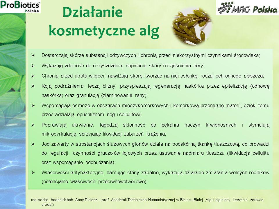Działanie kosmetyczne alg Dostarczają skórze substancji odżywczych i chronią przed niekorzystnymi czynnikami środowiska; Wykazują zdolność do oczyszcz