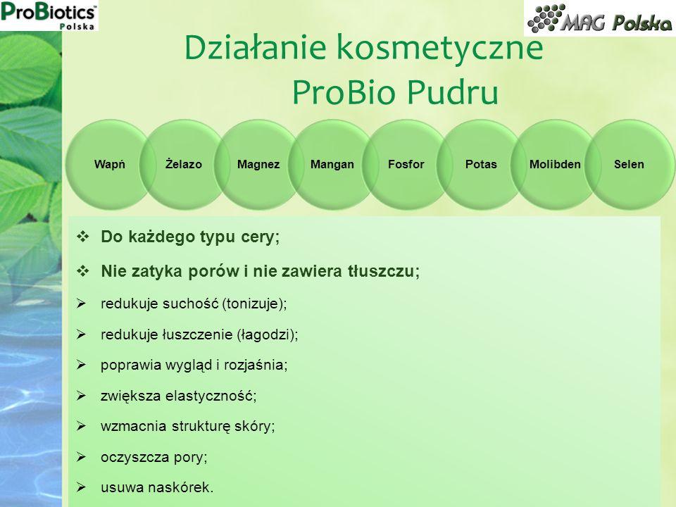 Działanie kosmetyczne ProBio Pudru WapńŻelazoMagnezManganFosforPotasMolibdenSelen Do każdego typu cery; Nie zatyka porów i nie zawiera tłuszczu; reduk