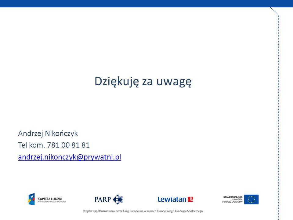 Dziękuję za uwagę Andrzej Nikończyk Tel kom. 781 00 81 81 andrzej.nikonczyk@prywatni.pl
