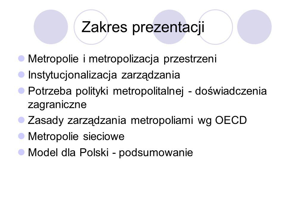 Zakres prezentacji Metropolie i metropolizacja przestrzeni Instytucjonalizacja zarządzania Potrzeba polityki metropolitalnej - doświadczenia zagranicz