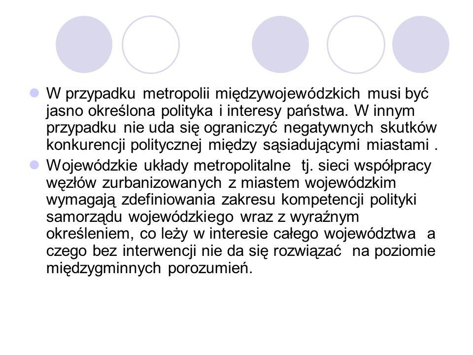 W przypadku metropolii międzywojewódzkich musi być jasno określona polityka i interesy państwa. W innym przypadku nie uda się ograniczyć negatywnych s