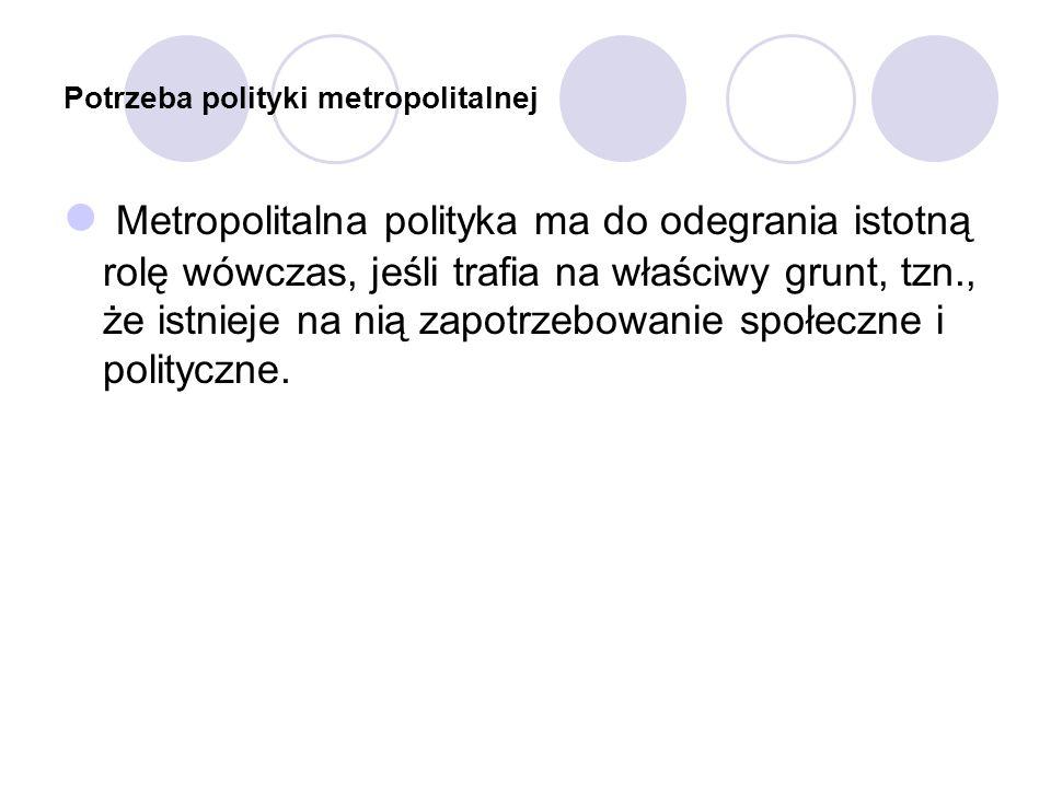 Potrzeba polityki metropolitalnej Metropolitalna polityka ma do odegrania istotną rolę wówczas, jeśli trafia na właściwy grunt, tzn., że istnieje na n
