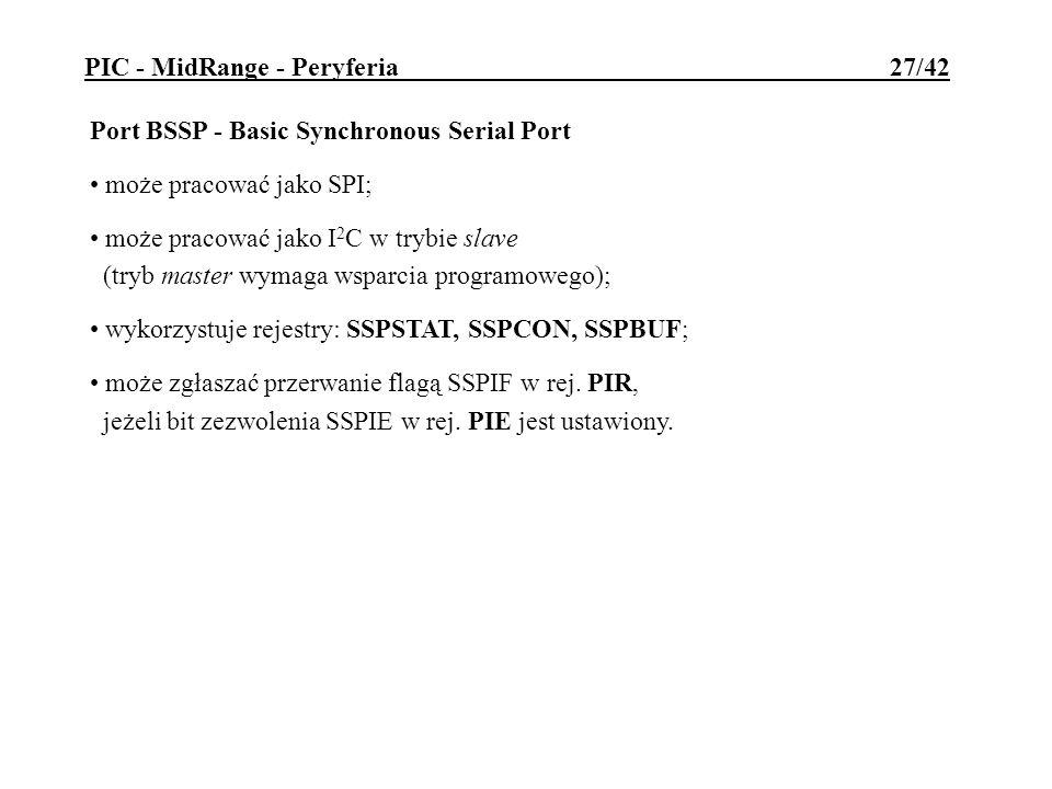 Port BSSP - Basic Synchronous Serial Port może pracować jako SPI; może pracować jako I 2 C w trybie slave (tryb master wymaga wsparcia programowego);