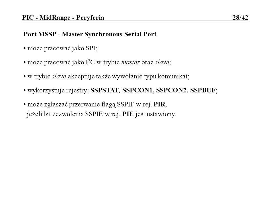 Port MSSP - Master Synchronous Serial Port może pracować jako SPI; może pracować jako I 2 C w trybie master oraz slave; w trybie slave akceptuje także