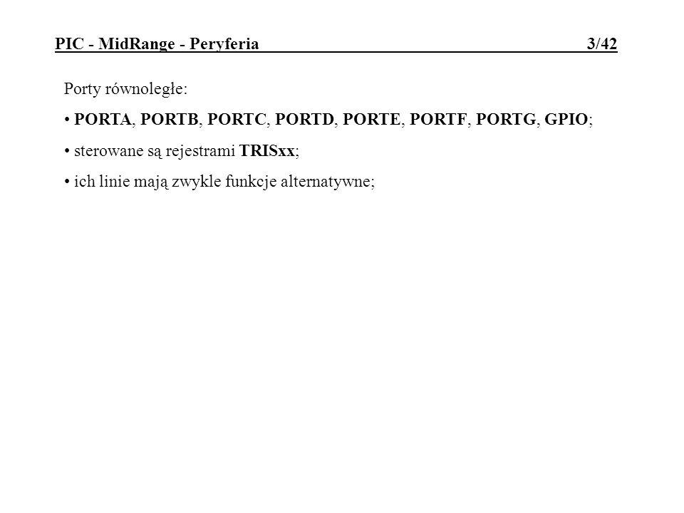 Port równoległy PSP (Parallel Slave Port) 8-bitowy port dostępny do odczytu i zapisu z zewnątrz; jako alternatywna funkcja PORTD i PORTE; bufory portów pracują w standardzie TTL; zewnętrzny (nadrzędny) procesor steruje odczytem i zapisem poprzez sygnały strobu /RD i /WR oraz sygnał wyboru /CS; sterowanie pracą PSP poprzez rejestr sterujący TRISE; w rej.