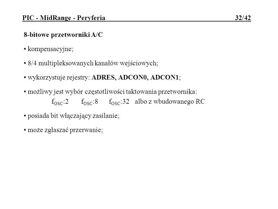 8-bitowe przetworniki A/C kompensacyjne; 8/4 multipleksowanych kanałów wejściowych; wykorzystuje rejestry: ADRES, ADCON0, ADCON1; możliwy jest wybór c