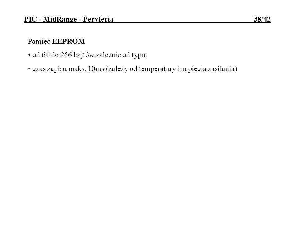 Pamięć EEPROM od 64 do 256 bajtów zależnie od typu; czas zapisu maks. 10ms (zależy od temperatury i napięcia zasilania) PIC - MidRange - Peryferia 38/