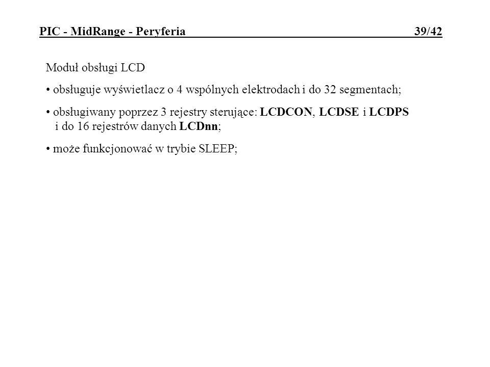 Moduł obsługi LCD obsługuje wyświetlacz o 4 wspólnych elektrodach i do 32 segmentach; obsługiwany poprzez 3 rejestry sterujące: LCDCON, LCDSE i LCDPS