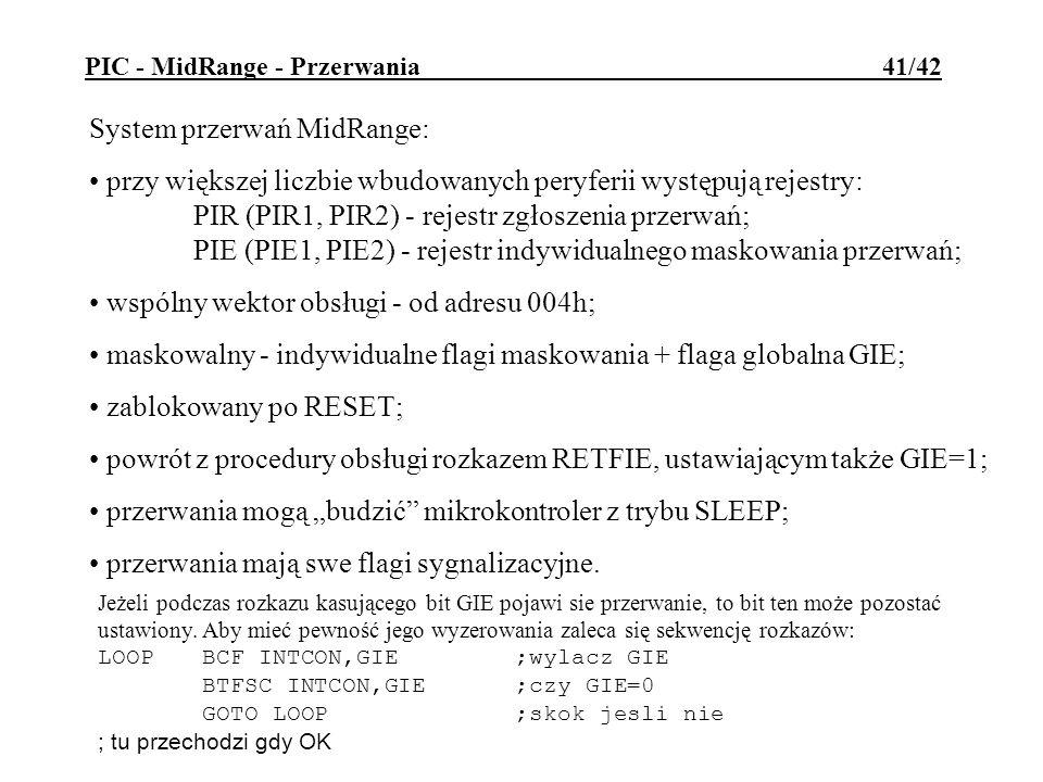 System przerwań MidRange: przy większej liczbie wbudowanych peryferii występują rejestry: PIR (PIR1, PIR2) - rejestr zgłoszenia przerwań; PIE (PIE1, P