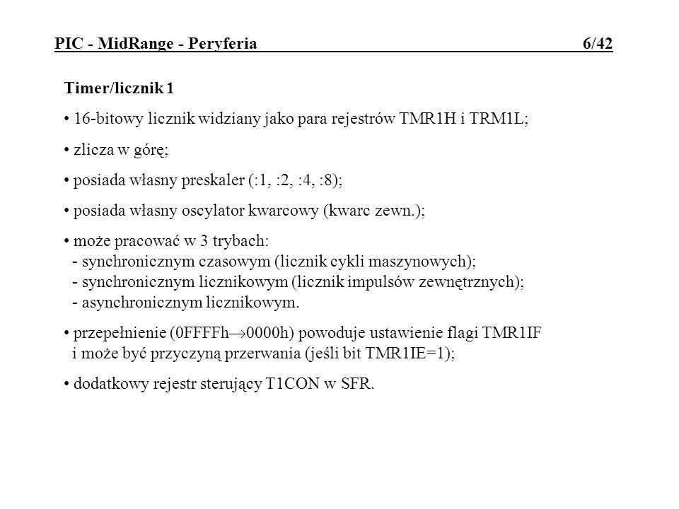 Rejestr sterujący CCPnCON: DCnM1, DCnM2 - 9 i 8 bit współczynnika wypełnienia dla PWM CCPnM3, CCPnM2, CCPnM1, CCPnM0 - wybór trybu pracy: 0000 - moduł wyłączony i wyzerowany; 0100 - zatrzaskiwanie na każdym zboczu opadającym 0101 - zatrzaskiwanie na każdym zboczu narastającym 0110 - zatrzaskiwanie na co 4-tym zboczu narastającym 0111 - zatrzaskiwanie na co 16-tym zboczu narastającym 1000 - zrównanie się wartości TMR2 i CCPRn ustawia flagę CCPnIF i wyjście CCPn=1 1001 - zrównanie się wartości TMR2 i CCPRn ustawia flagę CCPnIF i wyjście CCPn=0 1011 - zrównanie się wartości TMR2 i CCPRn ustawia flagi CCPnIF oraz SE, wyjście CCPn bez zmian.