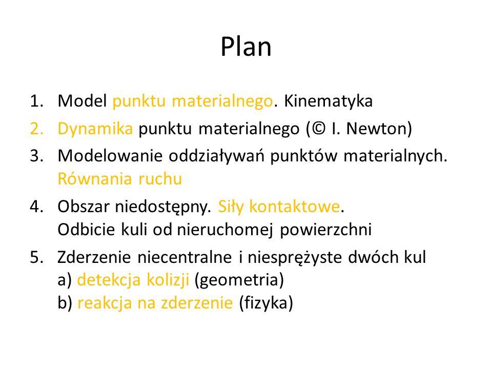 Plan 1.Model punktu materialnego.Kinematyka 2.Dynamika punktu materialnego (© I.