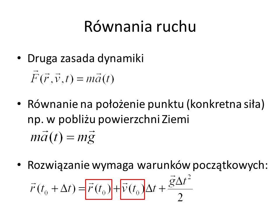 Równania ruchu Druga zasada dynamiki Równanie na położenie punktu (konkretna siła) np.