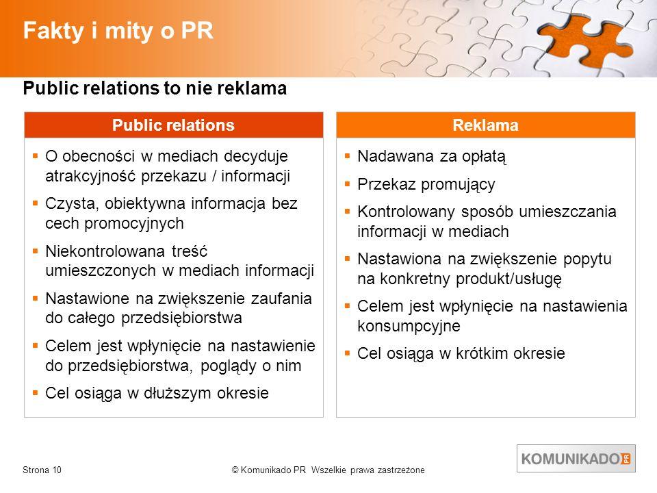 © Komunikado PR Wszelkie prawa zastrzeżoneStrona 10 Fakty i mity o PR Public relations O obecności w mediach decyduje atrakcyjność przekazu / informac