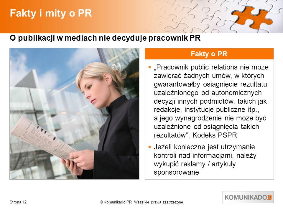 © Komunikado PR Wszelkie prawa zastrzeżoneStrona 12 Fakty i mity o PR O publikacji w mediach nie decyduje pracownik PR Fakty o PR Pracownik public rel