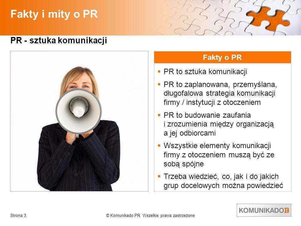 © Komunikado PR Wszelkie prawa zastrzeżoneStrona 3 Fakty i mity o PR PR - sztuka komunikacji Fakty o PR PR to sztuka komunikacji PR to zaplanowana, pr