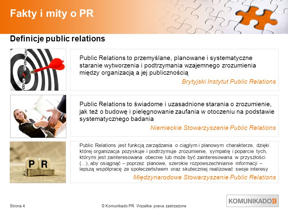 © Komunikado PR Wszelkie prawa zastrzeżoneStrona 4 Fakty i mity o PR Public Relations to przemyślane, planowane i systematyczne staranie wytworzenia i
