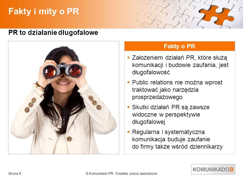 © Komunikado PR Wszelkie prawa zastrzeżoneStrona 8 Fakty i mity o PR PR to działanie długofalowe Fakty o PR Założeniem działań PR, które służą komunik