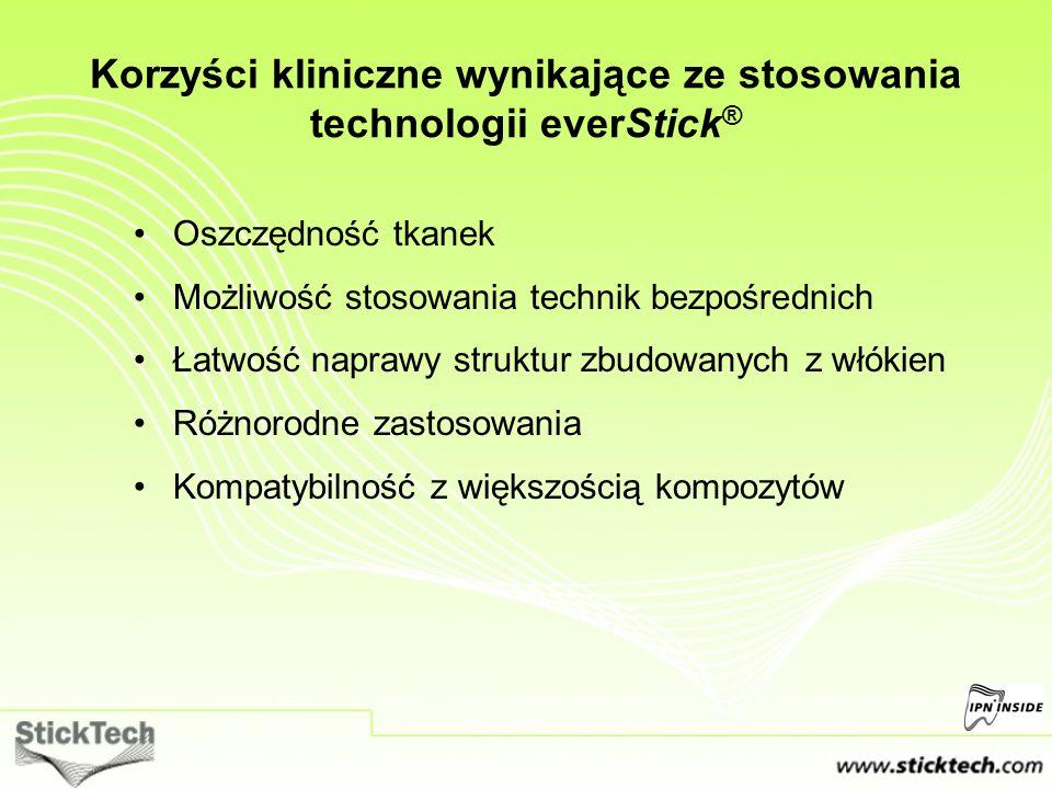 Korzyści kliniczne wynikające ze stosowania technologii everStick ® Oszczędność tkanek Możliwość stosowania technik bezpośrednich Łatwość naprawy stru