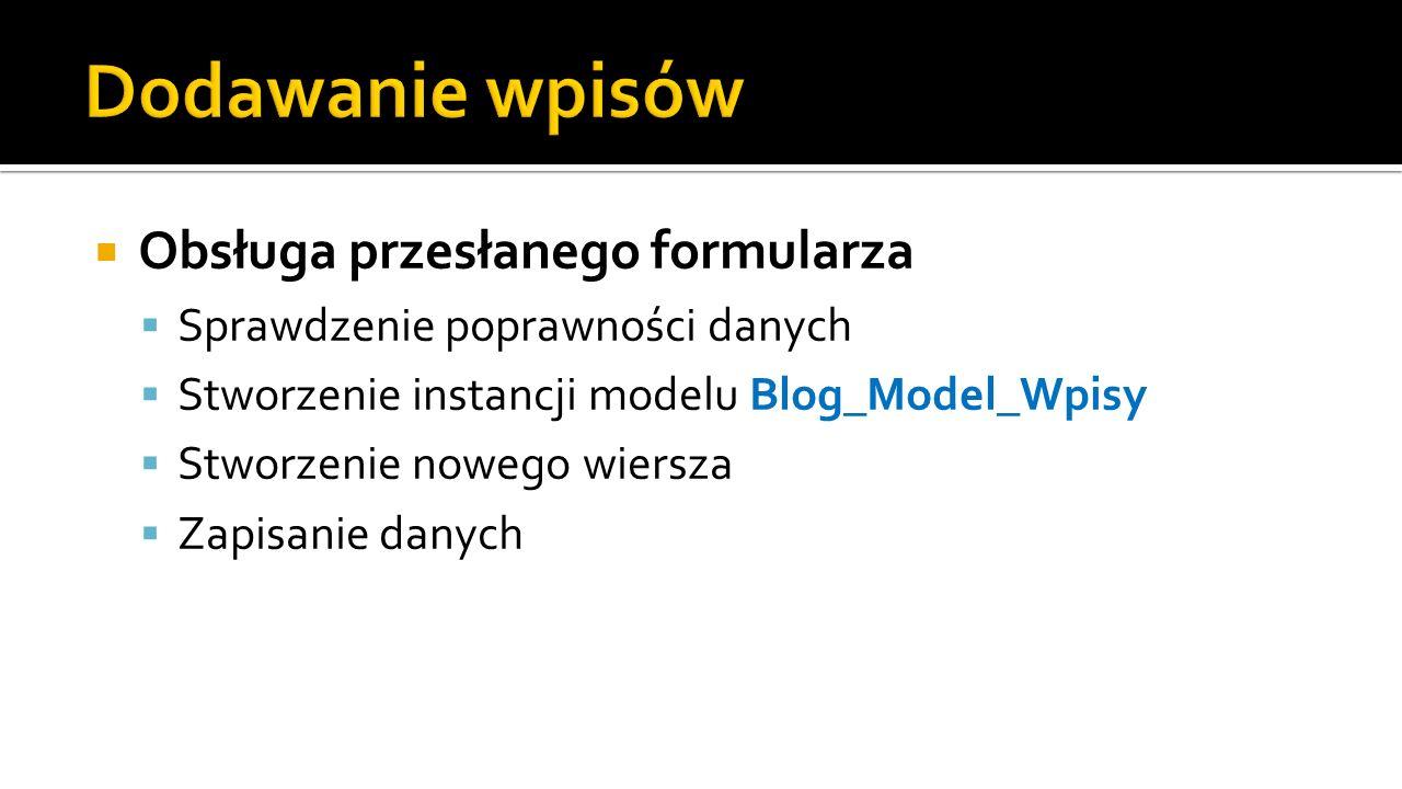 Obsługa przesłanego formularza Sprawdzenie poprawności danych Stworzenie instancji modelu Blog_Model_Wpisy Stworzenie nowego wiersza Zapisanie danych