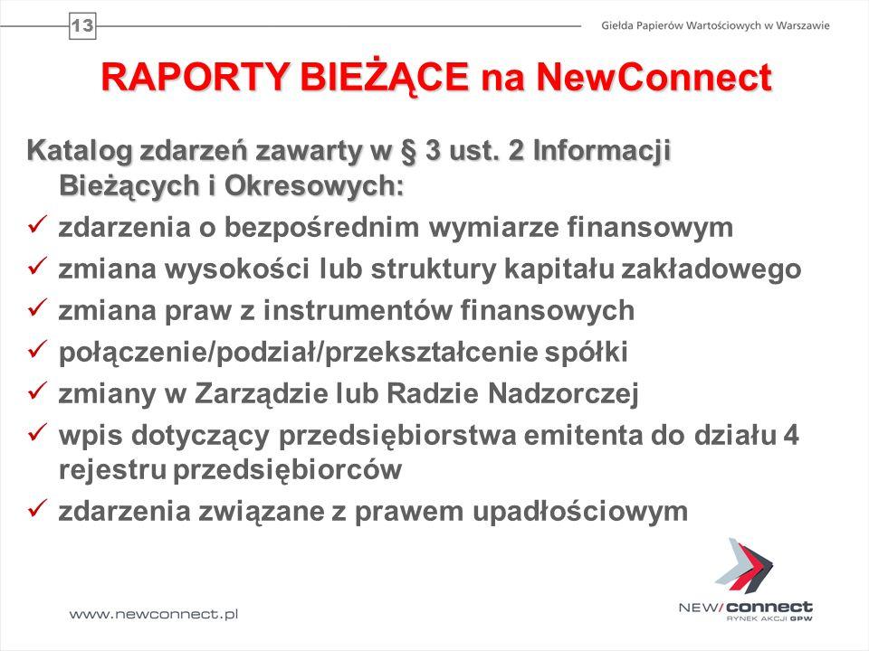 13 RAPORTY BIEŻĄCE na NewConnect Katalog zdarzeń zawarty w § 3 ust. 2 Informacji Bieżących i Okresowych: zdarzenia o bezpośrednim wymiarze finansowym