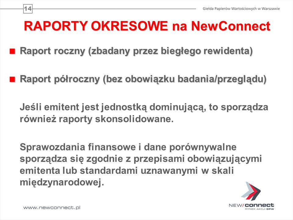 14 RAPORTY OKRESOWE na NewConnect Raport roczny (zbadany przez biegłego rewidenta) Raport półroczny (bez obowiązku badania/przeglądu) Jeśli emitent je