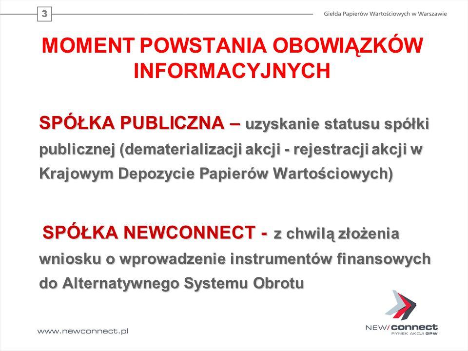 3 MOMENT POWSTANIA OBOWIĄZKÓW INFORMACYJNYCH SPÓŁKA PUBLICZNA – uzyskanie statusu spółki publicznej (dematerializacji akcji - rejestracji akcji w Kraj