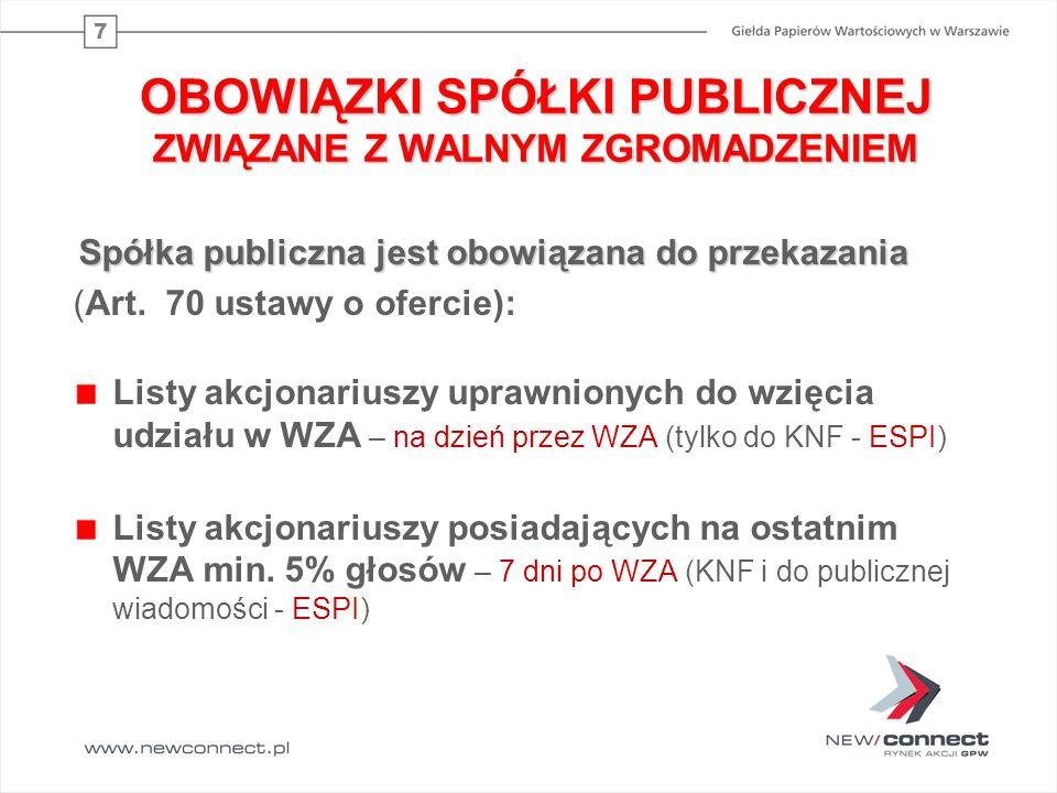 7 OBOWIĄZKI SPÓŁKI PUBLICZNEJ ZWIĄZANE Z WALNYM ZGROMADZENIEM Spółka publiczna jest obowiązana do przekazania (Art. 70 ustawy o ofercie): Listy akcjon