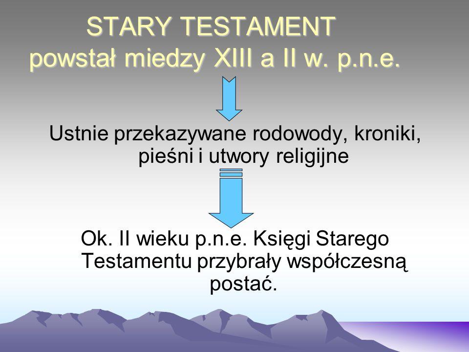 STARY TESTAMENT powstał miedzy XIII a II w. p.n.e. Ustnie przekazywane rodowody, kroniki, pieśni i utwory religijne Ok. II wieku p.n.e. Księgi Starego