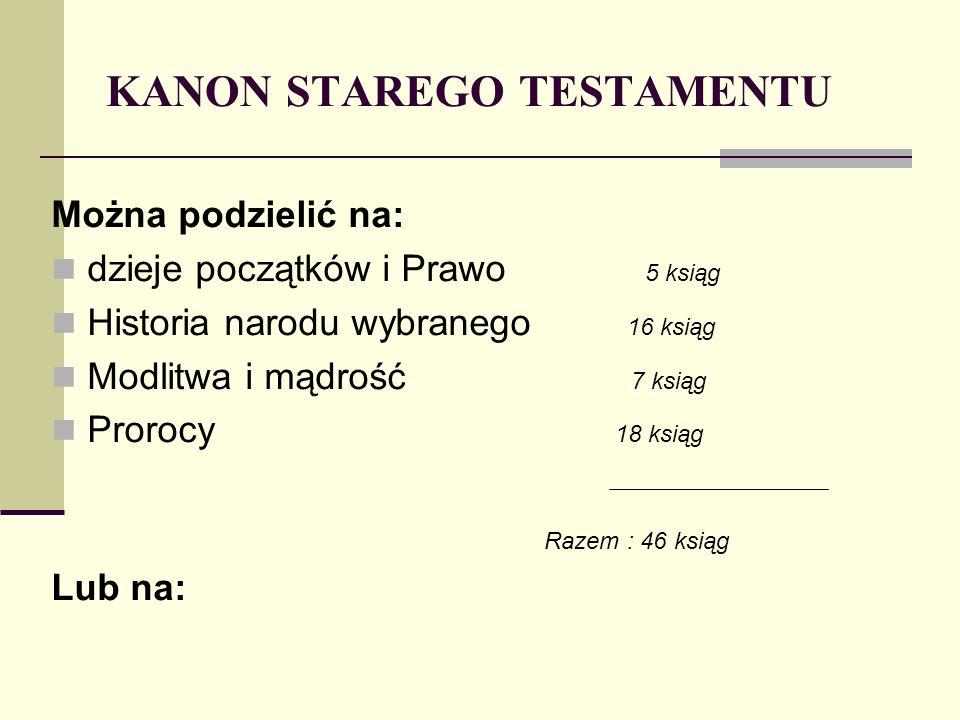 KANON STAREGO TESTAMENTU Można podzielić na: dzieje początków i Prawo 5 ksiąg Historia narodu wybranego 16 ksiąg Modlitwa i mądrość 7 ksiąg Prorocy 18