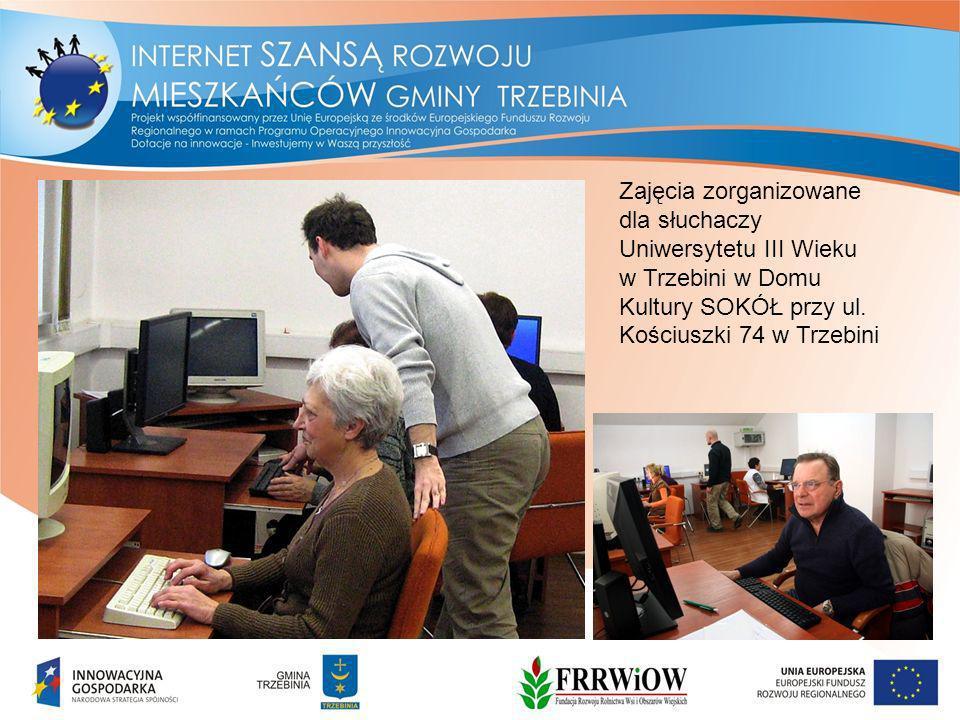 Zajęcia zorganizowane dla słuchaczy Uniwersytetu III Wieku w Trzebini w Domu Kultury SOKÓŁ przy ul.