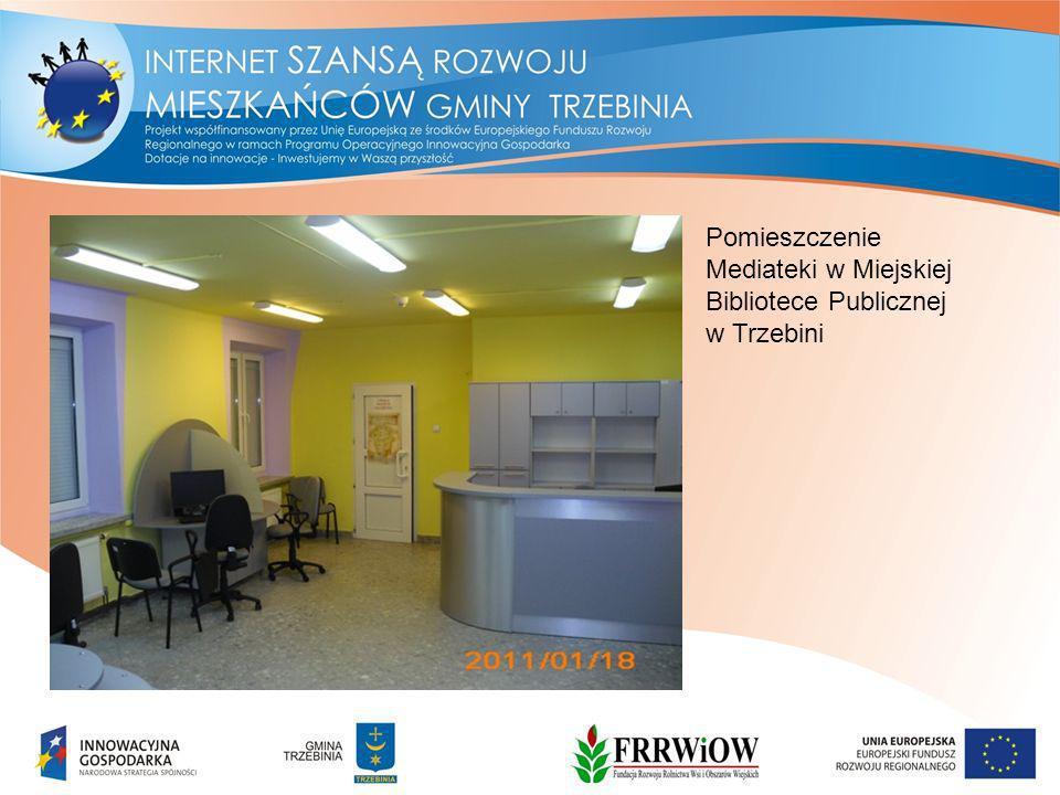Pomieszczenie Mediateki w Miejskiej Bibliotece Publicznej w Trzebini